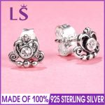 LS Hot Sale 925 Sterling Silver My Princess Stud Earrings For Women Wedding Party Fine <b>Jewelry</b> <b>Making</b> Christmas Gift W