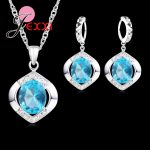 JEXXI Classic 100% 925 Sterling Silver Top Grade AAA++ CZ Zircon Wedding Engagment <b>Necklace</b>+Hoop Earring Blue <b>Jewelry</b> Sets Gifts