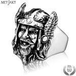 MetJakt Men's Punk Viking Ring Solid 925 <b>Sterling</b> Mask <b>Silver</b> for Men Personalized <b>Jewelry</b>