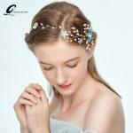 Queenco Blue Flower Headbands Crystal Wedding Hair Accessories Bridal Headpiece Bridesmaid Hair <b>Jewelry</b> Women Ornaments