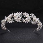 TUANMING Crystal Pearl Flower Bride Headbands Women Silver Princess Wedding Hair <b>Jewelry</b> Tiara Hairbands Hair Accessories Crown