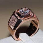 Size 7-13 New Fashion <b>jewelry</b> Handmade Men 3ct Round Cut 5A CZ Rose Gold 925 Sterling Silver <b>Wedding</b> Band Ring Gift choucong