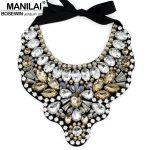 MANILAI Women <b>Handmade</b> Exaggerate Crystal Big Necklace Bead Bib Collar Fashion Statement Necklaces Maxi <b>Jewelry</b> Bijoux femme