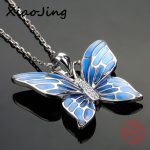 New arrival 925 sterling silver lovely butterfly pendant chain necklace with blue enamel diy fashion <b>jewelry</b> <b>making</b> women gifts