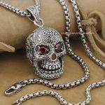 Huge & Heavy Red CZ Eyes Skull 925 Sterling <b>Silver</b> Mens Biker Pendant 9E007 (<b>Necklace</b> 24inch)