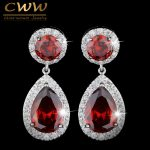 CWWZircons Brand Classic Red Purple Green 2.8 Carat Large CZ Crystal Long Drop Earrings For Women <b>Fashion</b> Zirconia <b>Jewelry</b> CZ014