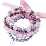 MetJakt Natural Gemstone Mix Rose Quartz,Gray Pearl,Rhodonite,Five Handmade Elastic <b>Bracelet</b> with Double Happiness Charm 18-19cm