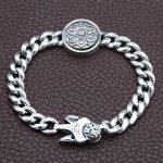 Fine Retro Tibetan Buddhism Thai <b>Silver</b> Chain Link <b>Bracelet</b> Men Six Words Mantras OM MANI PADME HUM Lotus <b>Bracelet</b> & Bangle