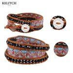 KELITCH <b>Jewelry</b> Import Natural Crystal Seed beads&Black Natural Stone Bracelet Leather Chain Adjustable <b>Handmade</b> Charm Bangle