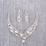 Crystal Bridal <b>Jewelry</b> Sets Necklace And Earrings Sprkling Luxury Rhinestone Fake Pearl <b>Handmade</b> Wedding <b>Jewelry</b> Set For Women