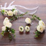 New Beige Flower Bride Headband Hairpins Earrings Set Bracelet Set Garden Plant Wedding Hair Accessories Set For Women <b>Jewelry</b>