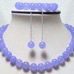 Natural Prett Lovely Women's Wedding wholesale noble 9mm pure purple gem earrings 7.5″ bracelet & 17″ necklace set wedding