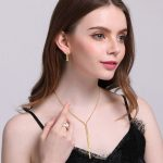 Vnox Bling Women's CZ Stone Long <b>Jewelry</b> Sets Elegant Gold Tone Stainless Steel Chain Wedding Earrings and Necklace Set