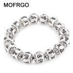 MOFRGO Charm Fine Vintage Meditation Tibetan Buddhism Plated <b>Silver</b> <b>Bracelet</b> Engraved Beads <b>Bracelets</b> For Women And Men Jewelry