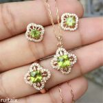KJJEAXCMY boutique jewels 925 Sterling <b>silver</b> natural olivine four-leaf clover female pendant + ring + <b>earring</b> set inlay accesso