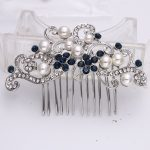 Bella Fashion Blue Classic Bridal Flower Leaf Hair Comb Austrian Crystal <b>Wedding</b> Bridesmaid Accessories Comb Party <b>Jewelry</b> Gift
