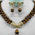 Prett Lovely Women's Wedding shipping>2Rows Tiger's Eye Round Beads Pendant Necklace earrings set AAA Crystal Healing
