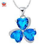 YHAMNI Fashion 925 Sterling <b>Silver</b> <b>Necklace</b> Jewelry Romantic Blue Austrian Crystal Heart Clover Pendant <b>Necklace</b> for Women YN177
