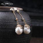 GLSEEVO Natural Fresh Water Baroque White Pearl Long Water Drop Earrings For Women Handmade Fine <b>Jewelry</b> Orecchini Donna GE0319