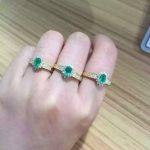 Natural green emerald Ring Natural gemstone Ring S925 <b>sterling</b> <b>silver</b> trendy Elegant round Diana women party gift <b>Jewelry</b>