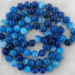 10mm Natural Blue Stripe Onyx Round Beads Necklace Rope Chain Beads Fashion <b>Jewelry</b> <b>Making</b> Design Natural Stone (Minimum Order1)