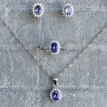Luxurious top quality jewelry sets made by 925 Solid Sterling <b>Silver</b> and 100% natural Excellent tanzanite wedding jewelry sets