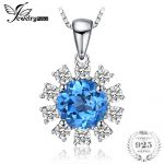 JewelryPalace Top 2ct Natural Blue Topaz Pendant <b>Necklaces</b> Real 925 Sterling <b>Silver</b> 45cm Box Chain Trendy Fine Jewelry For Women
