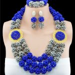 2016 Latest blue <b>silver</b> african beads necklace set nigerian wedding african beads jewelry set Free shipping