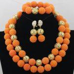 Gorgeous Fuchsia Pink African Beads <b>Jewelry</b> Set <b>Handmade</b> Plastic Balls Nigerian Wedding Beads Necklace <b>Jewelry</b> Set Bride QW012