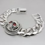 9 Lengths 925 Sterling <b>Silver</b> Rotable Red CZ Stone Eyes Skull Mens Biker Punk <b>Bracelet</b> 8F010 Free Shipping