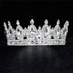 Trendy Multicolored Crystal Silver Queen Wedding Crown Round Bridal Tiara Rhinestone Diadema Head <b>Jewelry</b> Hair Accessories 1-14