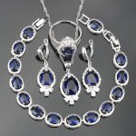 SexeMara Costume <b>Silver</b> 925 Jewelry Sets For Women <b>Bracelets</b>/Earrings/Pendant/Necklace/Rings Set With Blue Stones Free Gift Box