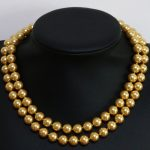 Elegant gold-yellew round unique shell simulated-pearl 8,10,12,14mm fashion round beads long chain necklace <b>making</b> 36inch B1444