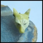 <b>Handmade</b> <b>Jewelry</b> Natural Stone Serpentine Carved Animal Wolf Head Necklace Pendant 49x33x15mm 26.29g Yellow Color Pendant
