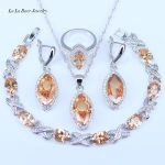 L&B Nice Design Big EYE <b>Silver</b> Jewelry Sets For Womne Wedding 925 Stamp Jewelry Sets <b>Bracelets</b> Rings Pendant Earrings Necklace