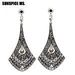 Dangling Egyptian Women Long Big Leaf Earrings <b>Antique</b> Gold Color Full Crystal Drop <b>Jewelry</b> Indian Bohemia Royal Party Bijoux