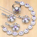 Flower Shaped <b>Silver</b> 925 Jewelry Purple CZ Crystal Jewelry Sets For Women Earrings/Pendant/Rings/<b>Bracelet</b>/Necklace Set
