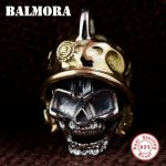 BALMORA 925 Sterling Silver Vintage Skull Pendants for Men Punk Skeleton Cool <b>Jewelry</b> <b>Accessories</b> Gift Without a Chain SY14281