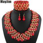 MayJim Statement fashion <b>jewelry</b> sets <b>Handmade</b> gold chain red african nigerian crystal bead dubai <b>jewelry</b> sets Vintage