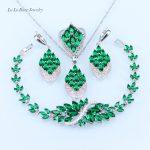 L&B <b>Bracelet</b> Jewelry Set for Women zircon Green created Emerald Pendant/Necklace/Earrings/Ring <b>silver</b> 925 jewelry