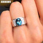 Men Rings Genuine Natural Topaz Gem Man Real 925 Sterling <b>Silver</b> Precious Blue Gemstone Fine <b>Jewelry</b>