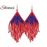 Shinus New Eagles Earrings Royal Blue Red MIYUKI Seed Beads Earrings <b>Native</b> <b>American</b> Long Earrings Inspired Women <b>Jewelry</b> Gifts