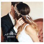 <b>Handmade</b> Gold Pearl Clear Crystal Wedding Headbands Bridal Hair <b>Jewelry</b> Floral Hair Accessories Vintage Women Headband Tiaras