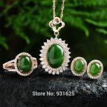 925 <b>silver</b> Natural Green HeTian Yu Stone Gem Inlay Pendant <b>Necklace</b> Earring Ring Set + certificate Fashion Fine Jewelry