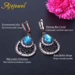 Ajojewel <b>Antique</b> Hollow Out Vintage Earring For Women Blue Crystal Water Drop Earring With Clear Rhinestone Large Ethnic <b>Jewelry</b>
