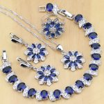 Blue Zircon White CZ 925 <b>Silver</b> Jewelry Sets For Women Party Earrings/Pendant/Necklace/Rings/<b>Bracelet</b>