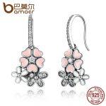 BAMOER Luxury 100% 925 Sterling Silver Pink Flower Poetic Daisy Cherry Blossom Drop Earrings <b>Jewelry</b> SCE016