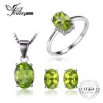 Jewelrypalace Oval 5ct Natural Green Peridot Ring Earrings Pendant Necklace Set 925 <b>Sterling</b> <b>Silver</b> <b>Jewelry</b> Women Fine <b>Jewelry</b>