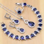 Blue Created Zircon White Crystal 925 Sterling Silver <b>Jewelry</b> Sets For Bridal Open Rings/Earrings/Pendant/<b>Necklace</b>/Bracelet