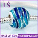 2018 Spring New Real 925 <b>Silver</b> BLUE SWIRLS CHARM Fit Original Bracelets&<b>Necklace</b> DIY Gift.Women Wedding Jewelry Beads.XZ